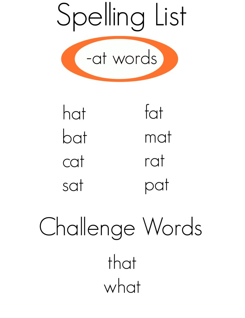 Spelling list -at words