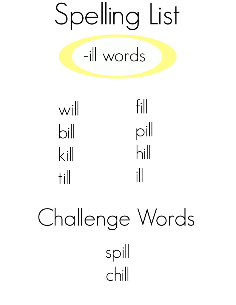 Spelling words -ill words