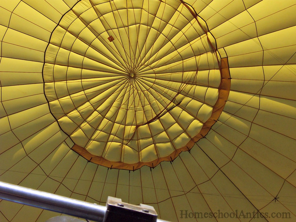 looking into the envelope of the balloon