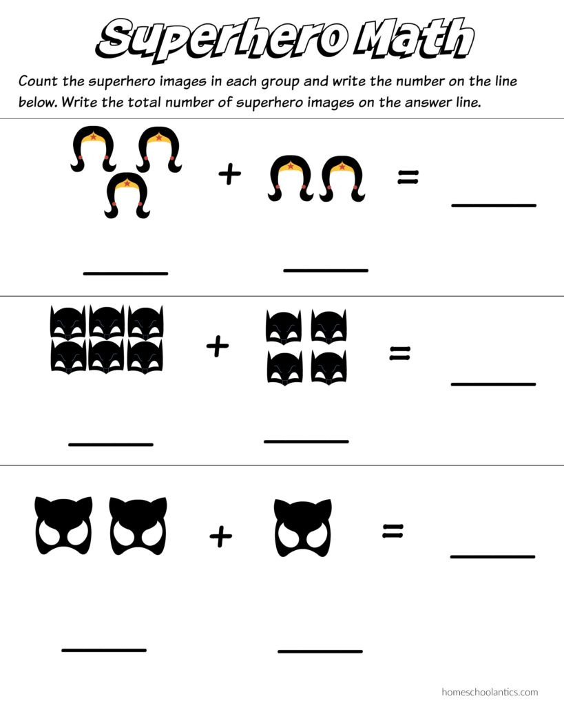Superhero Math worksheets to practice basic counting and addition. Free printables.