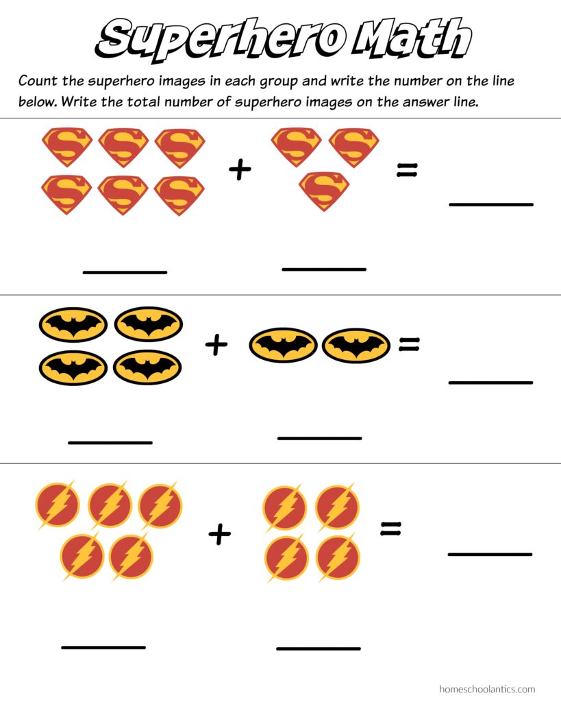 superhero math kindergarten addition worksheet printables  superhero math worksheets to practice basic counting and addition free  printables